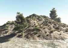 Colina con el árbol y la hierba del río Imagen de archivo