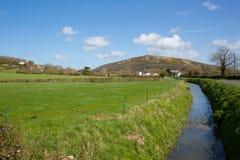 Colina de Crook Peak en la pieza BRITÁNICA de Inglaterra del campo de Somerset del paseo de Wessex imagen de archivo