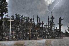 Colina de cruces en Siauliai, Lituania foto de archivo libre de regalías