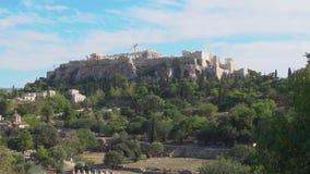 Colina de la acrópolis en Atenas almacen de metraje de vídeo