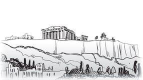 Colina de la acrópolis en Atenas. Destino europeo del viaje. Imagenes de archivo