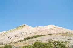 Colina de la montaña rocosa con los árboles y los arbustos en día de verano del abright Imagen de archivo
