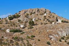 Colina de Palaiochora en la isla de Aegina en Grecia Foto de archivo