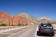 Colina de siete colores en Purmamarca en el Ruta 52 Fotos de archivo libres de regalías