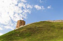 Colina del castillo de la torre de Vilna Gediminas, Lituania Imagen de archivo libre de regalías