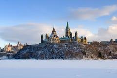 Colina del parlamento en invierno Imagen de archivo libre de regalías