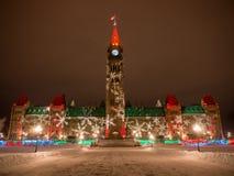 Colina del parlamento en la Navidad Imagenes de archivo