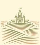 Colina y castillo stock de ilustración