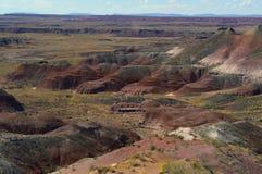 Colinas coloridas en el desierto pintado de la demostración septentrional de Arizona Fotos de archivo