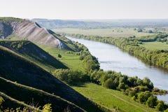 Colinas de la tiza en el valle de Don River imagen de archivo libre de regalías