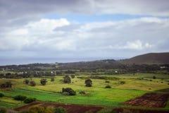 Colinas en Isla de Pascua Rapa Nui Semana Santa foto de archivo libre de regalías