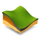 Colinas verdes y prados isométricos Imagen de archivo libre de regalías
