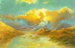 Colinas y lago en Autumn Season Fotografía de archivo libre de regalías