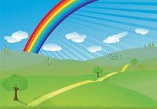 Colinas y vector del arco iris libre illustration