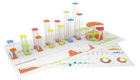 Colirfulgrafieken van financiële analyse Stock Fotografie