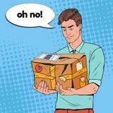 Colis d'Art Unhappy Man Holding Damaged de bruit illustration libre de droits