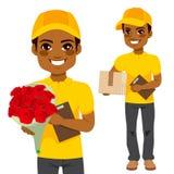 Colis de Man Flower And de messager Photos stock