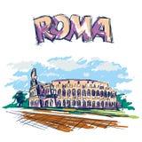 Colis? romain Vue ? Rome, Italie Croquis tiré par la main de vecteur de couleur avec le texte de titre de Roma illustration stock