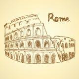 Coliseo del bosquejo, fondo del vintage del vector Imagen de archivo libre de regalías