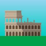 Coliseo en ejemplo del vector de Roma, Italia Icono plano del estilo de Flavian Amphitheater Foto de archivo