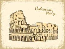 Coliseo en Roma, Italia Ejemplo dibujado mano del vector de Colosseum Fotografía de archivo libre de regalías