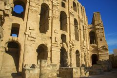 Coliseu do EL Jem Tunisia Amphitheatre antigo imagem de stock royalty free