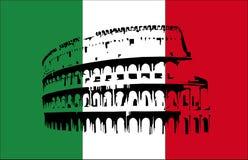 Coliseu e bandeira de Italy Imagem de Stock Royalty Free
