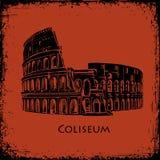 Coliseu em Roma, Italy Ilustração tirada mão do vetor de Colosseum, o estilo do fundo antigo da pintura do vaso ilustração royalty free