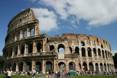 Coliseum. Entire view of coliseum during a cloudy day of end of summer with people Royalty Free Stock Images
