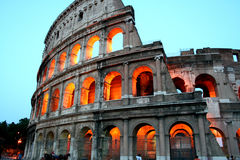 Coliseum. Amphitheatre at dusk in Rome, Italy Royalty Free Stock Photo