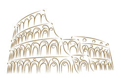 Coliseum. Sketch of the Coliseum golden brush Royalty Free Stock Photography