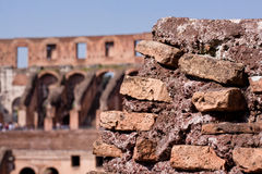 Coliseum. A Coloseum ruins and blue sky in Rome Stock Photos