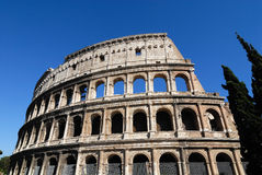 Coliseum. View of the Coliseum from below with blue sky Royalty Free Stock Images