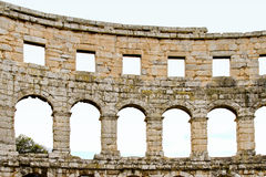 Coliseum arch. Detail of ancient Roman coliseum arch made of stone Royalty Free Stock Images