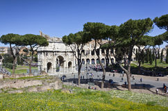 Coliseum and arch of constantine. On a blue sky seen from the Palatine Hill Royalty Free Stock Photos