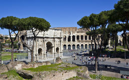 Coliseum and arch of constantine. On a blue sky seen from the Palatine Hill Royalty Free Stock Images