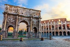 The Coliseum and the Arch of Constantine in Rome. Italy royalty free stock images