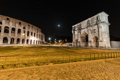 Coliseum and Arch of Constantine. The Coliseum and Arch of Constantine in Rome by night Stock Images