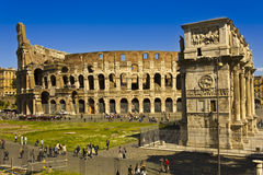 Coliseum and arch of constantine at sunset Royalty Free Stock Image