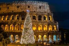 Coliseum av Rome, Italien på jul Arkivfoto