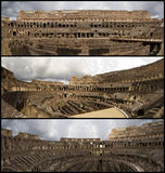 Coliseum collage. Three photos inside the Coliseum on a cloudy day in Rome, Italy Stock Photography