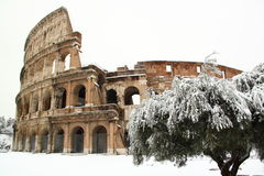 The Coliseum covered by snow. A really rare event in Rome stock image