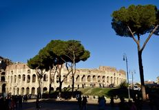 Coliseum at Dusk. This is a late afternoon picture of the ruins of the iconic Coliseum located in Rome, Italy. This amphitheater known as the Flavin Amphitheatre Stock Photography