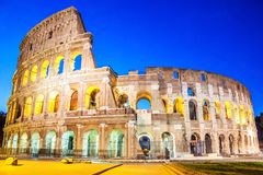Coliseum in the evening in the lights under the starlit sky, Rom royalty free stock photo