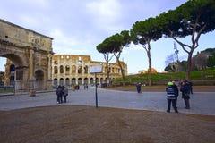 Coliseum with family tourist Royalty Free Stock Photos