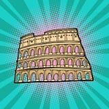coliseum Foro romano del Th con el foco en los prismáticos stock de ilustración