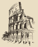 Coliseum Hand Drawn Vector Illustration Sketch Stock Images