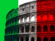Coliseum on Italian flag. Illustration of Roman coliseum superimposed on Italian flag royalty free illustration