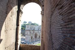 Arch of Constantine view from Top floors of Colosseum - Rome, Italy stock photo