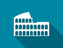Coliseum with a long shadow. Flat icon. Vector. Illustration stock illustration